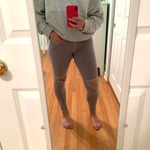 American Eagle Taupe Distressed Jegging